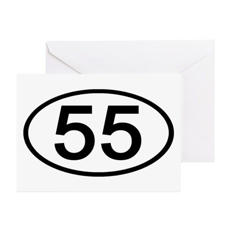 Number 55 Oval Greeting Cards (Pk of 10)