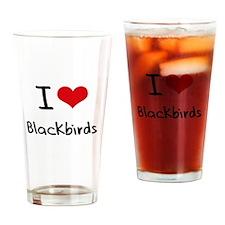 I Love Blackbirds Drinking Glass