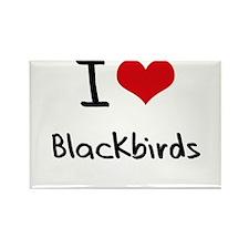 I Love Blackbirds Rectangle Magnet