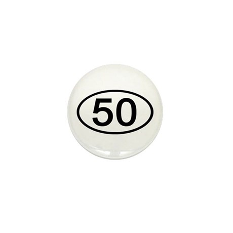 Number 50 Oval Mini Button