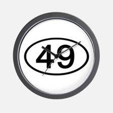 Number 49 Oval Wall Clock