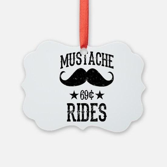 Mustache Rides Black Ornament