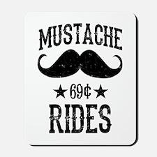 Mustache Rides Black Mousepad