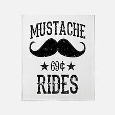 Mustache Rides Black Throw Blanket