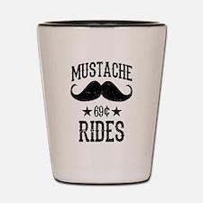 Mustache Rides Black Shot Glass
