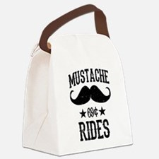 Mustache Rides Black Canvas Lunch Bag