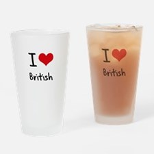 I Love British Drinking Glass