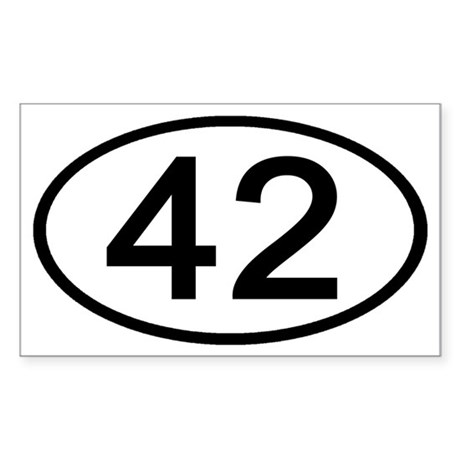 Number 42 Oval Rectangle Sticker