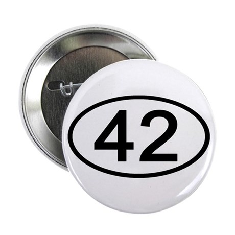 "Number 42 Oval 2.25"" Button (10 pack)"
