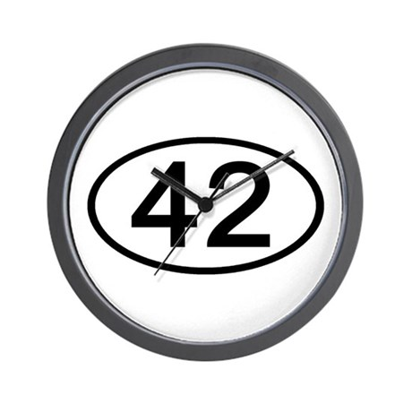 Number 42 Oval Wall Clock