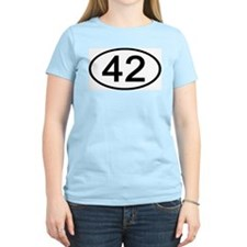 Number 42 Oval Women's Pink T-Shirt