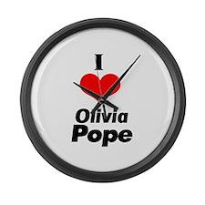 I heart Olivia Pope black Large Wall Clock