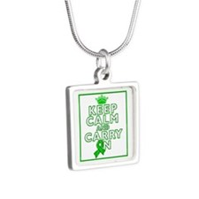 TBI Keep Calm Carry On Silver Square Necklace
