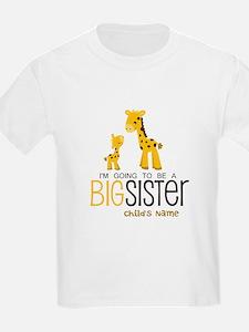 Custom Giraffe Big Sister-to-Be T-Shirt