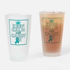 PKD Keep Calm Carry On Drinking Glass