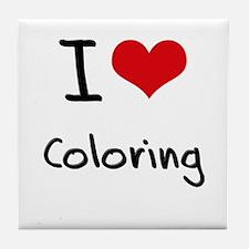 I Love Coloring Tile Coaster