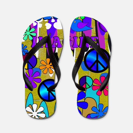 Retro peace art Vertical BLUE Flip Flops