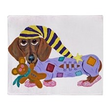 Dachshund Bedtime Throw Blanket