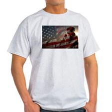 American Flag shadowed by US Marine T-Shirt
