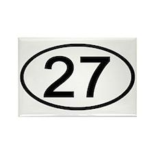 Number 27 Oval Rectangle Magnet