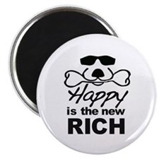 "Happy Is The New Rich 2.25"" Magnet (10 pack)"