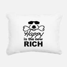 Happy Is The New Rich Rectangular Canvas Pillow