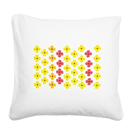 Fun Flowers Square Canvas Pillow