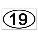 Number 19 Oval Rectangle Sticker