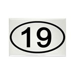 Number 19 Oval Rectangle Magnet (100 pack)