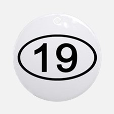 Number 19 Oval Ornament (Round)