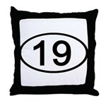 Number 19 Oval Throw Pillow