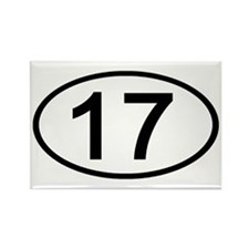 Number 17 Oval Rectangle Magnet