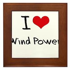 I Love Wind Power Framed Tile