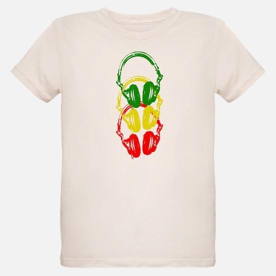 Rastafarian Color Stencil Style Headphones T-Shirt