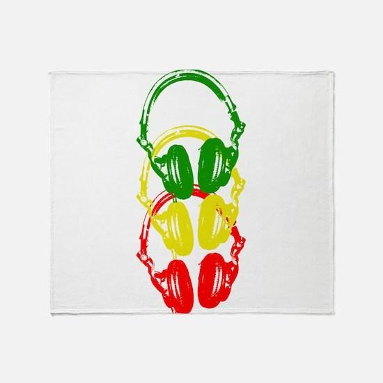 Rastafarian Color Stencil Style Headphones Throw B