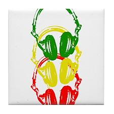 Rastafarian Color Stencil Style Headphones Tile Co