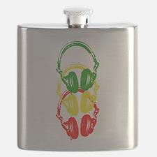 Rastafarian Color Stencil Style Headphones Flask