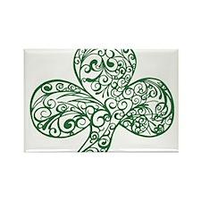 Green Shamrock Curl Design Rectangle Magnet