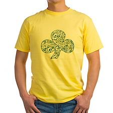 Green Shamrock Curl Design T-Shirt