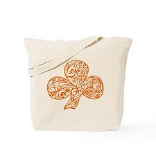 Orange Shamrock Curl Design Tote Bag