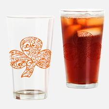 Orange Shamrock Curl Design Drinking Glass