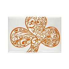 Orange Shamrock Curl Design Rectangle Magnet