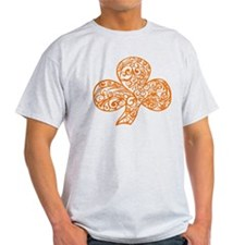 Orange Shamrock Curl Design T-Shirt