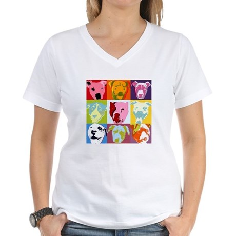 Pop Art Pit Bulls Ash Grey T-Shirt