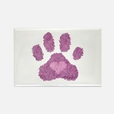 Pink Posh Paw Rectangle Magnet