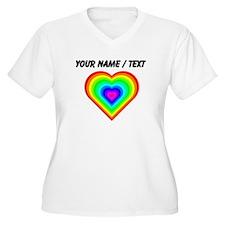 Custom Rainbow Heart Plus Size T-Shirt