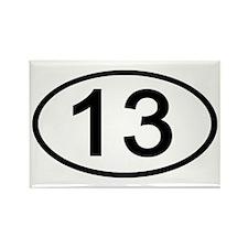Number 13 Oval Rectangle Magnet