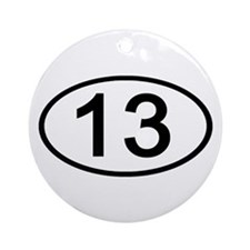 Number 13 Oval Ornament (Round)