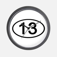 Number 13 Oval Wall Clock