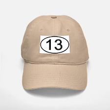Number 13 Oval Baseball Baseball Cap